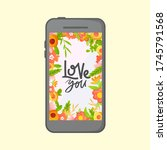 smartphone screen with floral... | Shutterstock .eps vector #1745791568