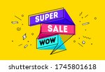super sale. 3d sale banner with ... | Shutterstock .eps vector #1745801618
