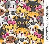 seamless pattern cute cat... | Shutterstock .eps vector #1745818838