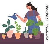 young woman watering... | Shutterstock .eps vector #1745819588