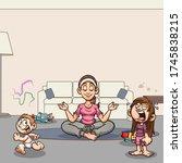 calm mom meditating in living... | Shutterstock .eps vector #1745838215