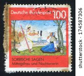 Small photo of GERMANY - CIRCA 1991: stamp printed by Germany, shows Sorbian legend, circa 1991