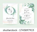 greenery wedding invitation... | Shutterstock .eps vector #1745897915
