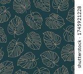 tropical monstera leaves...   Shutterstock .eps vector #1745921228