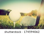 playing golf  ball on tee and...   Shutterstock . vector #174594062