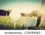 Playing Golf  Ball On Tee And...