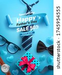 father's day sale poster with...   Shutterstock .eps vector #1745954555
