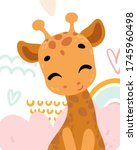 poster with cute animal.... | Shutterstock .eps vector #1745960498