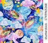 watercolor galaxy  moon ... | Shutterstock . vector #1745965268