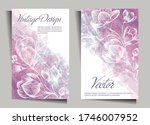 vintage design with flowers on...   Shutterstock .eps vector #1746007952