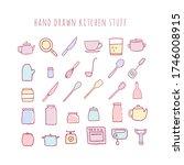 vector hand drawn kitchen stuff.... | Shutterstock .eps vector #1746008915