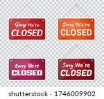 set of sorry we're closed door...   Shutterstock .eps vector #1746009902