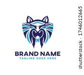 wolf head logo template vector... | Shutterstock .eps vector #1746012665