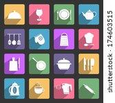 kitchen utensil flat icons set | Shutterstock . vector #174603515