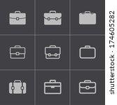 vector black briefcase icons... | Shutterstock .eps vector #174605282