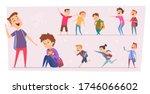 bullying kids. teasing stressed ... | Shutterstock .eps vector #1746066602