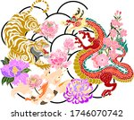 dragon fighting with tiger... | Shutterstock .eps vector #1746070742