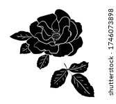 black silhouette rose flower . ... | Shutterstock .eps vector #1746073898