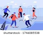 teenage girls and guys enjoying ...   Shutterstock .eps vector #1746085538