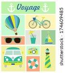 voyage set | Shutterstock .eps vector #174609485