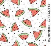 seamless doodle summer pattern. ... | Shutterstock .eps vector #1746127568