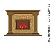 fireplace vector icon.cartoon... | Shutterstock .eps vector #1746129488