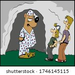 sleepy bear wearing pijama... | Shutterstock .eps vector #1746145115