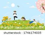 cute cartoon spring landscape...   Shutterstock .eps vector #1746174035