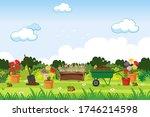 background scene with gardening ... | Shutterstock .eps vector #1746214598