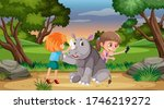 Scene With Two Girls And Rhino...