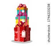 colorful vector paper gift... | Shutterstock .eps vector #1746223238