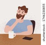 pensive bearded guy sitting at... | Shutterstock .eps vector #1746230855