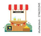 lemonade stand. sign for the... | Shutterstock .eps vector #1746231545
