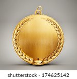 gold medal isolated on a grey... | Shutterstock . vector #174625142