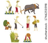 asian farmers in straw conical... | Shutterstock .eps vector #1746253598