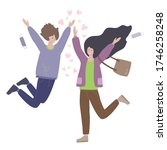 happy young romantic couple... | Shutterstock .eps vector #1746258248