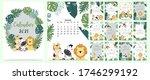 doodle safari calendar set 2021 ...   Shutterstock .eps vector #1746299192