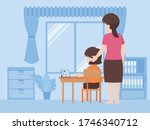 mother helping daughter doing...   Shutterstock .eps vector #1746340712