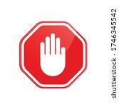 red stop roadsign with big hand ... | Shutterstock .eps vector #1746345542