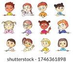kids portraits. cute multi... | Shutterstock .eps vector #1746361898