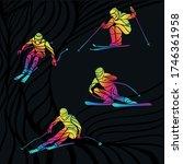 vector set of abstract skiing... | Shutterstock .eps vector #1746361958