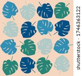 tropical leave modern flat... | Shutterstock .eps vector #1746363122