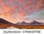 vivid sunset along yukon canada