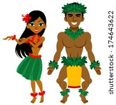 hula dancer  man and woman | Shutterstock .eps vector #174643622