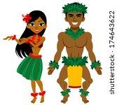hula dancer  man and woman | Shutterstock .eps vector #174643622