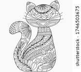cat drawn with abstract floral... | Shutterstock .eps vector #1746503675