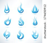 gas blue flame  set of vector... | Shutterstock .eps vector #174650912
