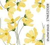yellow pastel blooming  flowers ... | Shutterstock .eps vector #1746525308