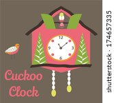 cute cuckoo clock | Shutterstock .eps vector #174657335