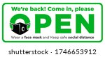 open sign plate on facade door... | Shutterstock .eps vector #1746653912